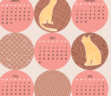 2017 Patterned Cats Calendar - Bubblegum