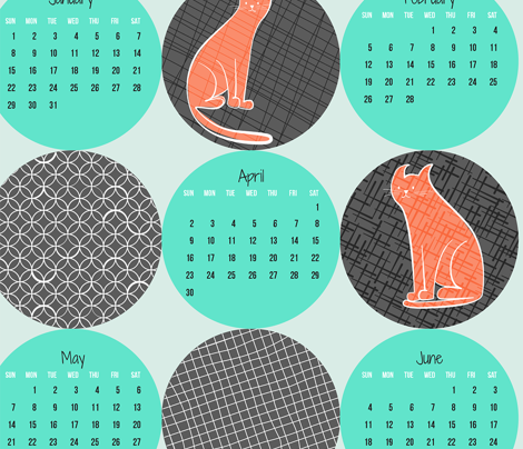 2017 Patterned Cats Calendar - Citrus Twist