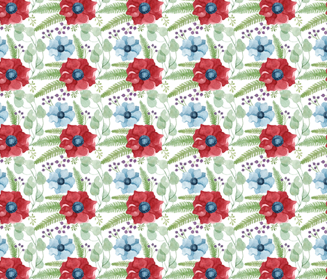 Blue and Red Anemones Pattern fabric by helga_wigandt on Spoonflower - custom fabric