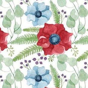Blue and Red Anemones Pattern