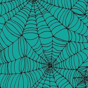 Spiderwebs - black on turquoise