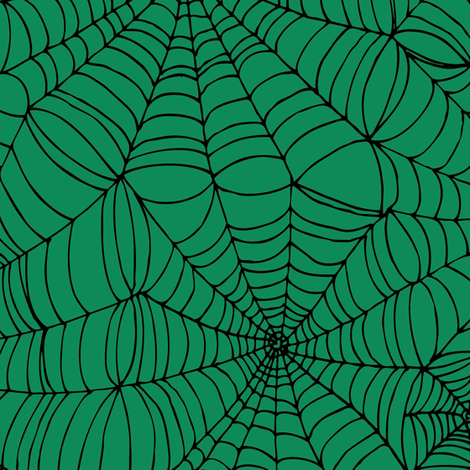 Spiderwebs - black on green fabric by cecca on Spoonflower - custom fabric