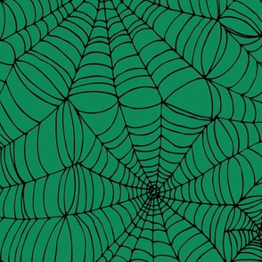 Spiderwebs - black on green