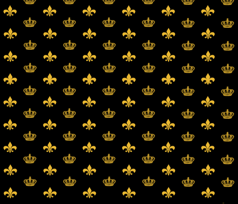 Black and Gold Crowns and Fleur de Lis fabric by bunnyhuns on Spoonflower - custom fabric