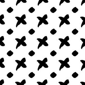 Ink Crosses and Dots Seamless Pattern