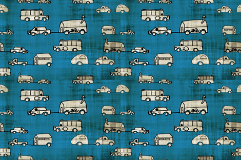 Home-is-where-you-park-it_3399cc_smudged fabric by kfrogb on Spoonflower - custom fabric