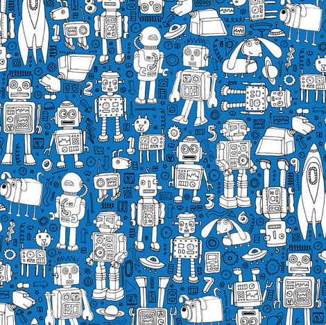 Robot Pattern - blue and white fabric by cecca on Spoonflower - custom fabric