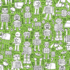 Robot Pattern - green and white