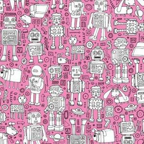 Robot Pattern - pink and white