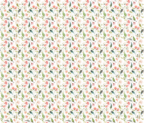 Eucalyptus scatter - watercolour fabric by hollydickson on Spoonflower - custom fabric