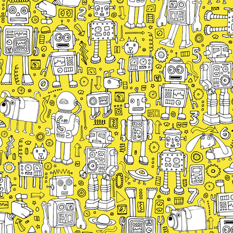 Robot Pattern - yellow and white fabric by cecca on Spoonflower - custom fabric