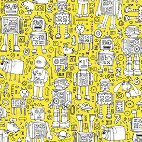 Robot Pattern - yellow and white