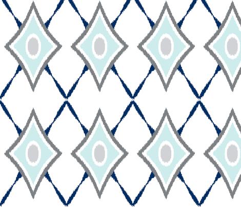 diamond_x_ikatlight_blue_gray fabric by boxwood_press on Spoonflower - custom fabric