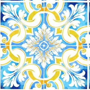 Watercolour tile repeat (Tavira)