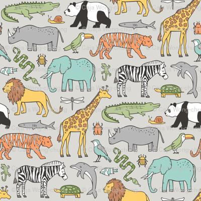Zoo Jungle Animals Doodle with Panda, Giraffe, Lion, Tiger, Elephant, Zebra,  Birds on  Grey