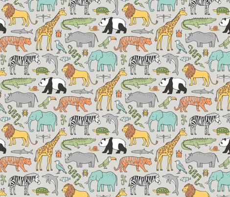 Zoo Jungle Animals Doodle with Panda, Giraffe, Lion, Tiger, Elephant, Zebra,  Birds on  Grey fabric by caja_design on Spoonflower - custom fabric