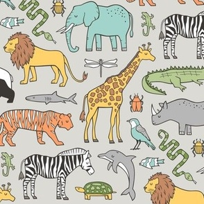 Zoo Jungle Animals Doodle with Panda, Giraffe, Lion, Tiger, Elephant, Zebra,  Birds on  Grey