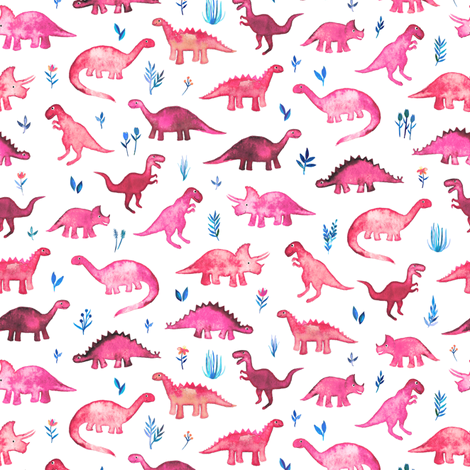 Tiny Dinos in Magenta and Coral on White Small Print fabric by micklyn on Spoonflower - custom fabric