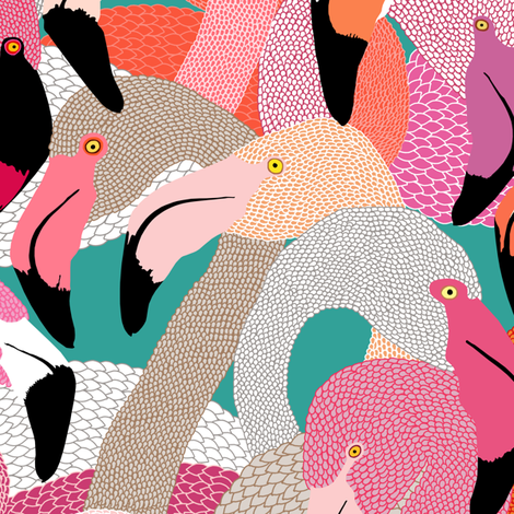 Flamingoes in Orange and Pink - LARGE fabric by rubydoor on Spoonflower - custom fabric