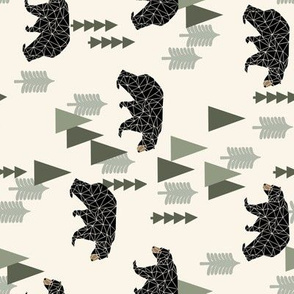 forest bear // cream green neutral baby nursery boys forest mountain woodland geometric bear