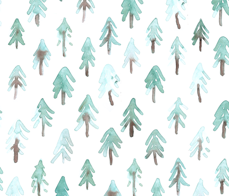 Fir trees, pinetrees light watercolor fabric by rebecca_reck_art on Spoonflower - custom fabric