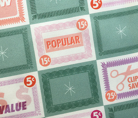 Double Coupons* (Camouflage) || grocery store market supermarket numbers typography prices money geometric stars flourish check checkerboard