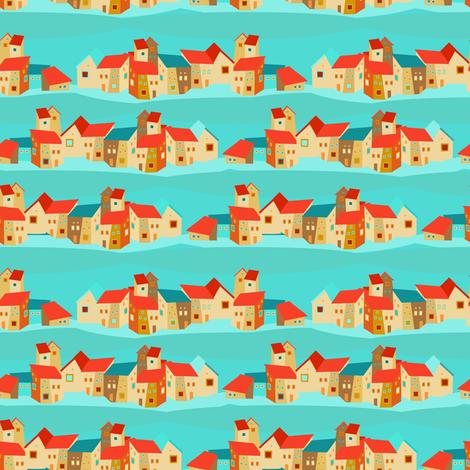 Spanish houses fabric by dariara on Spoonflower - custom fabric
