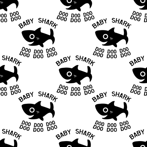Baby Shark Doo Doo Doo white and black fabric by magneticcatholic on Spoonflower - custom fabric