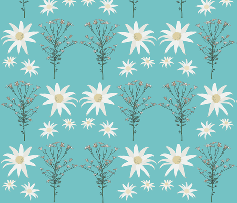 2941 Flannel_Flower#1 -Aqua fabric by jennieholtsbaumdesign on Spoonflower - custom fabric