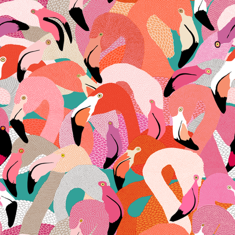 Flamingoes in Orange and Pink - SMALL fabric by rubydoor on Spoonflower - custom fabric
