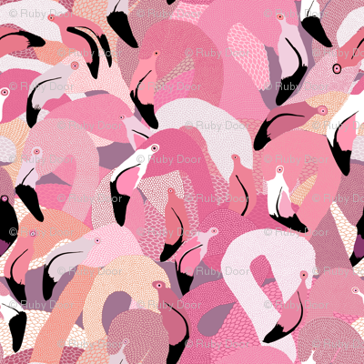 Flamingoes in Pink and Lavender - LARGE