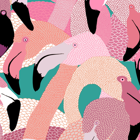 Flamingoes in Pink and Lavender - LARGE fabric by rubydoor on Spoonflower - custom fabric