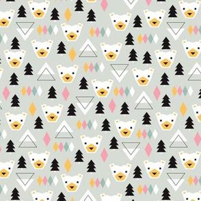 Geometric winter polar bears christmas kids illustration print SMALL