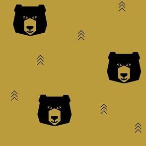 bears - mustard, black geometric bears on mustard, geo bears || by sunny afternoon