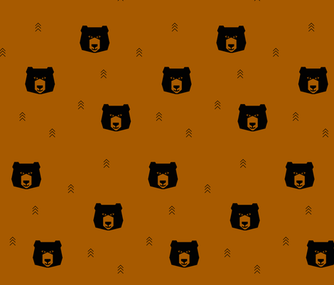 Geo bears - black bear on rusty red ||by sunny afternoon fabric by sunny_afternoon on Spoonflower - custom fabric