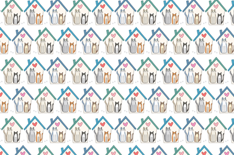 home is where my cats are fabric by laura_may_designs on Spoonflower - custom fabric