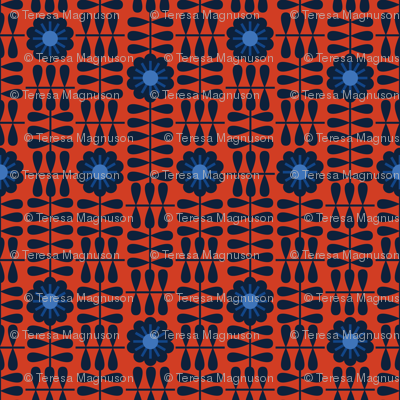 nordic geofloral red navy