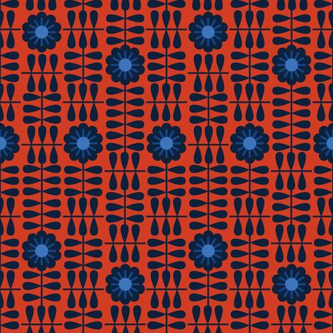 nordic geofloral red navy fabric by teresamagnuson on Spoonflower - custom fabric
