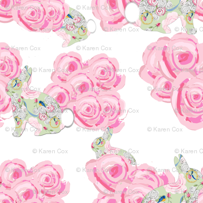 Bunnies in my garden of pink roses