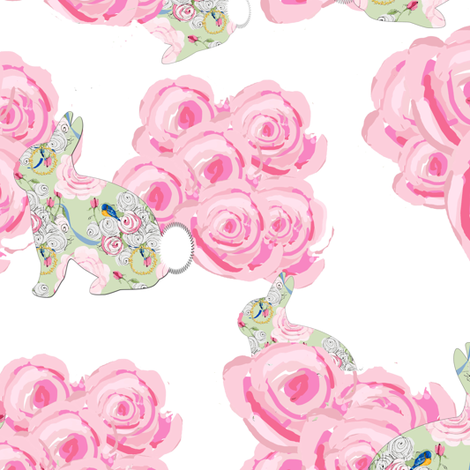 Bunnies in my garden of pink roses fabric by karenharveycox on Spoonflower - custom fabric