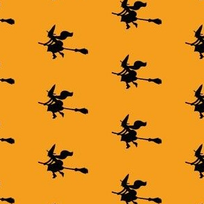 Witch Silhouettes – Black on Orange