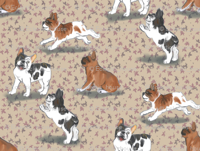 Frolicking French Bulldogs on Beige