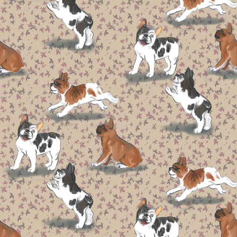Frolicking French Bulldogs on Beige fabric by eclectic_house on Spoonflower - custom fabric