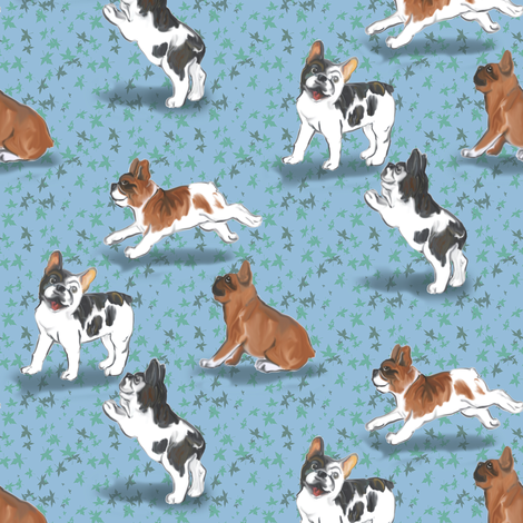 Frolicking French Bulldogs on Blue fabric by eclectic_house on Spoonflower - custom fabric