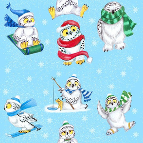 Berry_Snow_Owls_Fabric