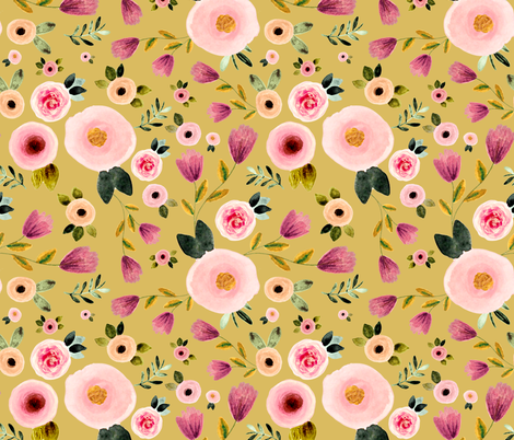Secret Garden in Gold fabric by shopcabin on Spoonflower - custom fabric