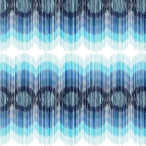 Scalloping Circles Ikat Blues