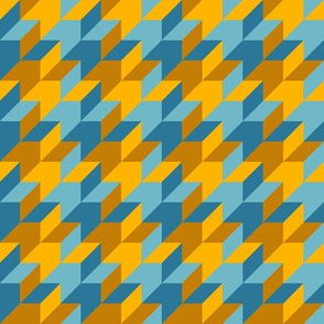 harlequin houndstooth - blue and gold