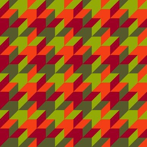 harlequin houndstooth - red, orange, olive and green
