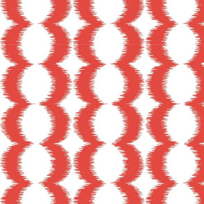 Wave Vertical Ikat - Red and White
